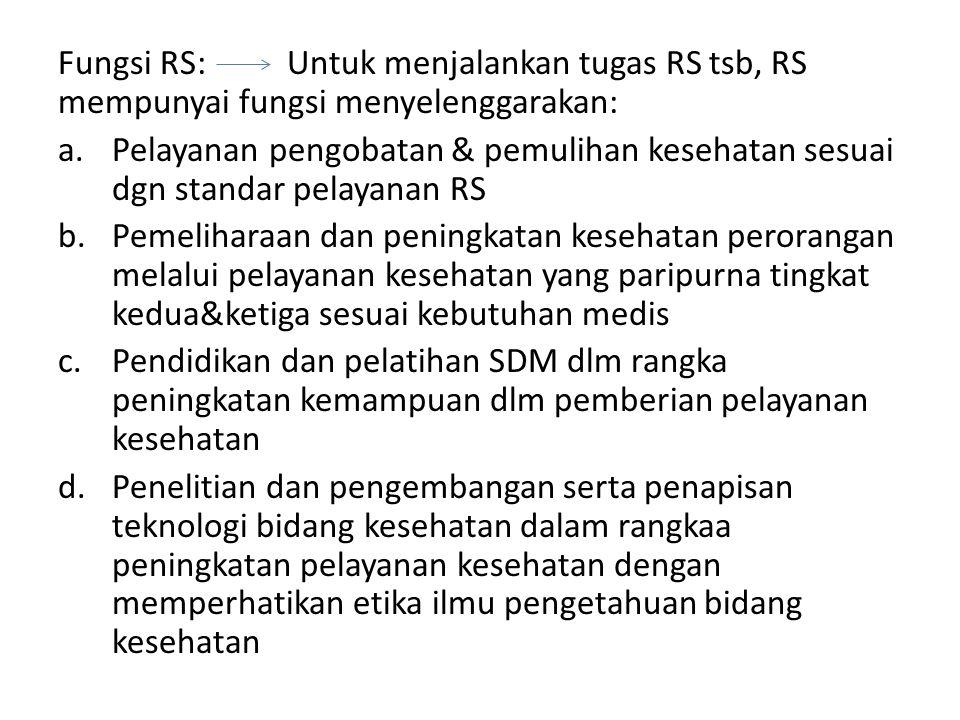 Fungsi RS: Untuk menjalankan tugas RS tsb, RS mempunyai fungsi menyelenggarakan:
