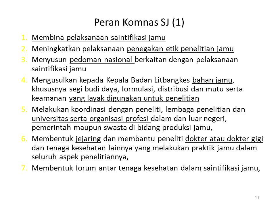 Peran Komnas SJ (1) Membina pelaksanaan saintifikasi jamu