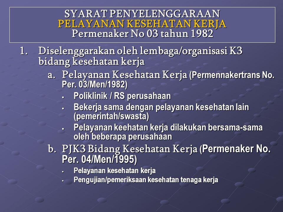 Diselenggarakan oleh lembaga/organisasi K3 bidang kesehatan kerja