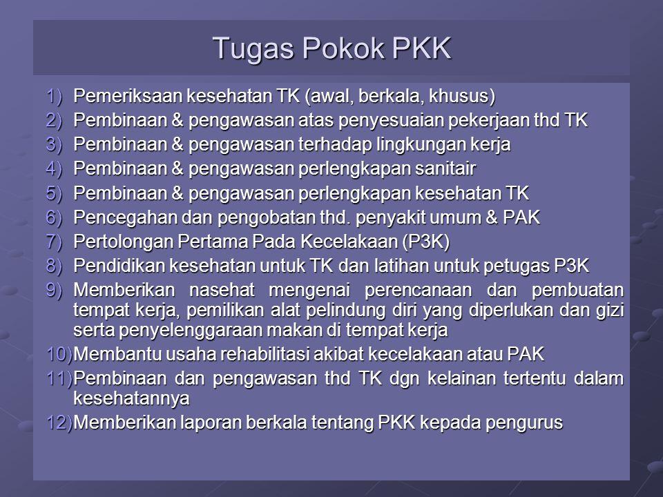 Tugas Pokok PKK Pemeriksaan kesehatan TK (awal, berkala, khusus)