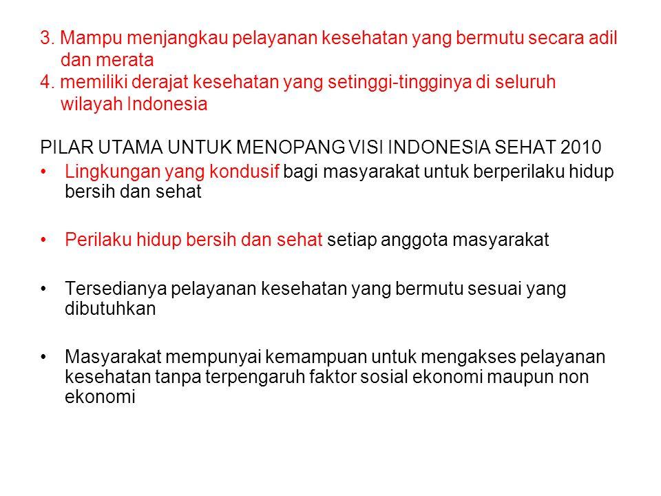 3. Mampu menjangkau pelayanan kesehatan yang bermutu secara adil dan merata 4. memiliki derajat kesehatan yang setinggi-tingginya di seluruh wilayah Indonesia
