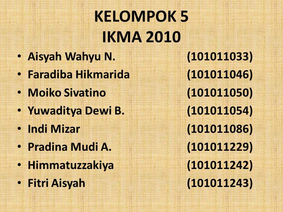 KELOMPOK 5 IKMA 2010 Aisyah Wahyu N. (101011033)