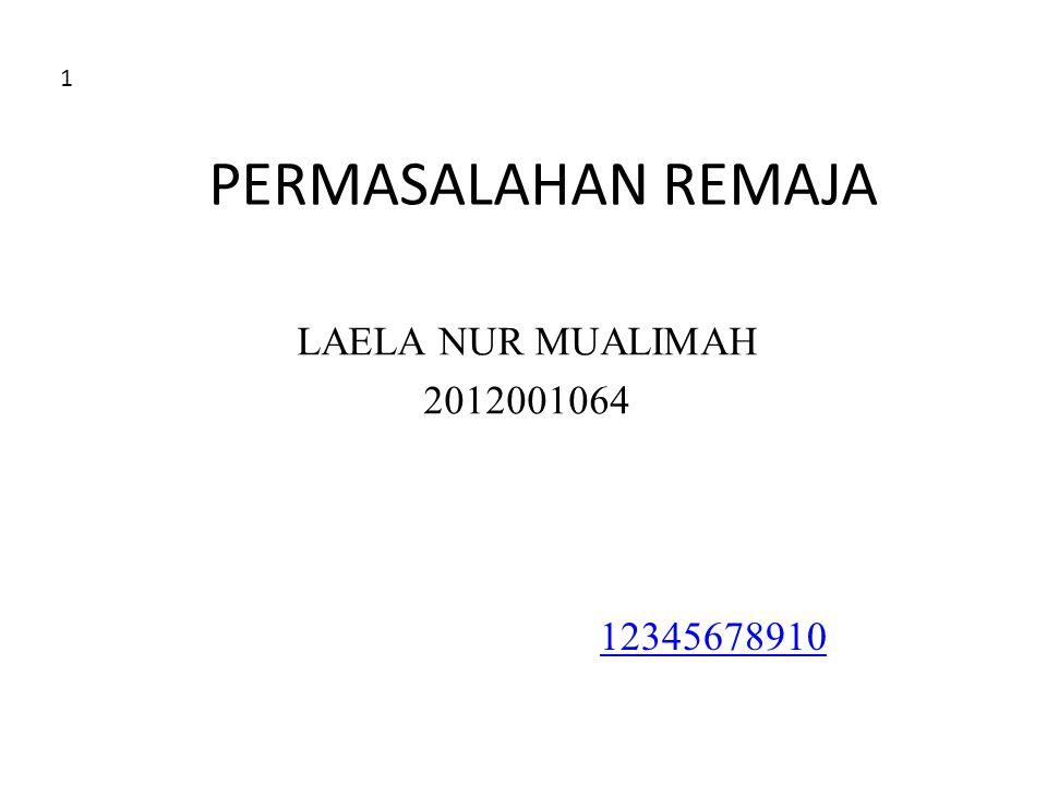1 PERMASALAHAN REMAJA LAELA NUR MUALIMAH 2012001064 12345678910