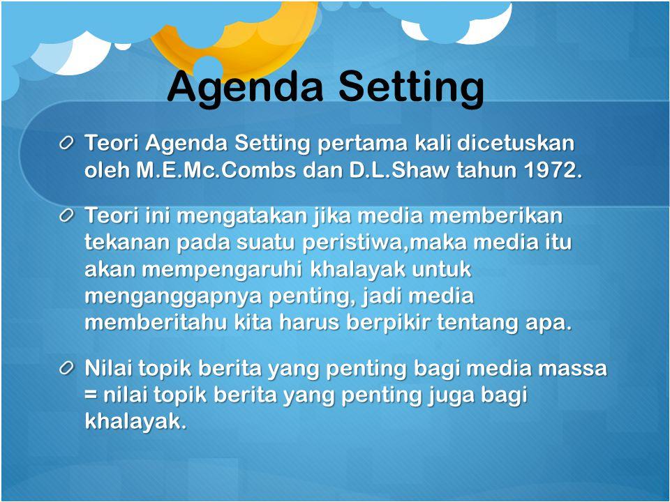 Agenda Setting Teori Agenda Setting pertama kali dicetuskan oleh M.E.Mc.Combs dan D.L.Shaw tahun 1972.