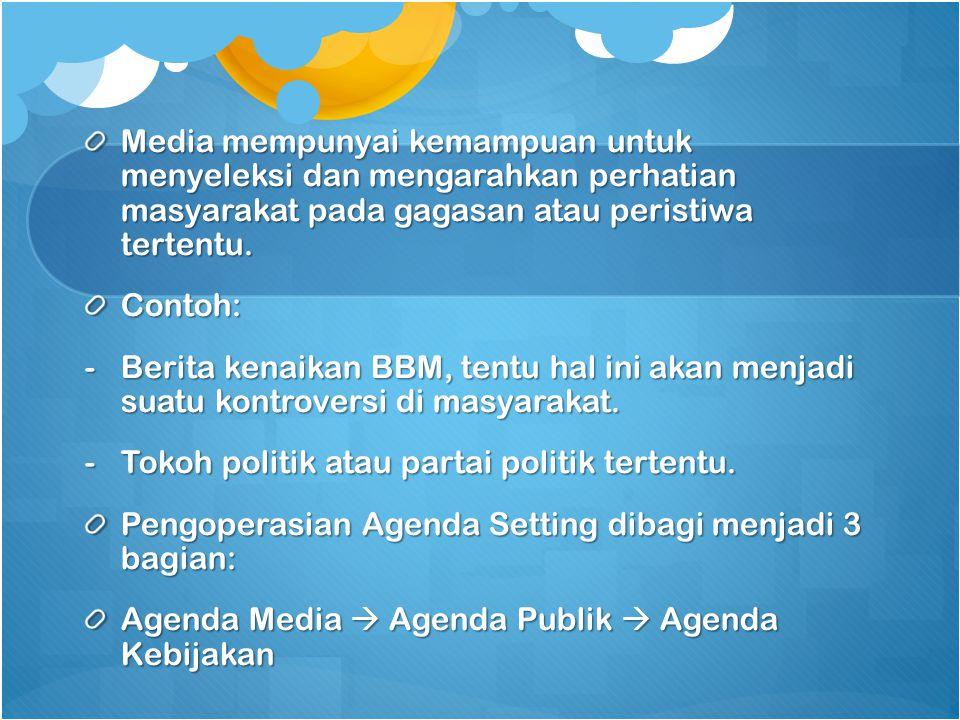 Media mempunyai kemampuan untuk menyeleksi dan mengarahkan perhatian masyarakat pada gagasan atau peristiwa tertentu.