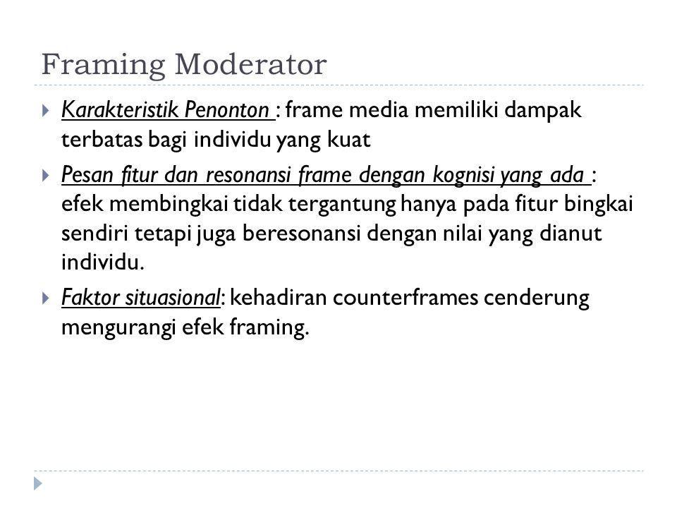 Framing Moderator Karakteristik Penonton : frame media memiliki dampak terbatas bagi individu yang kuat.