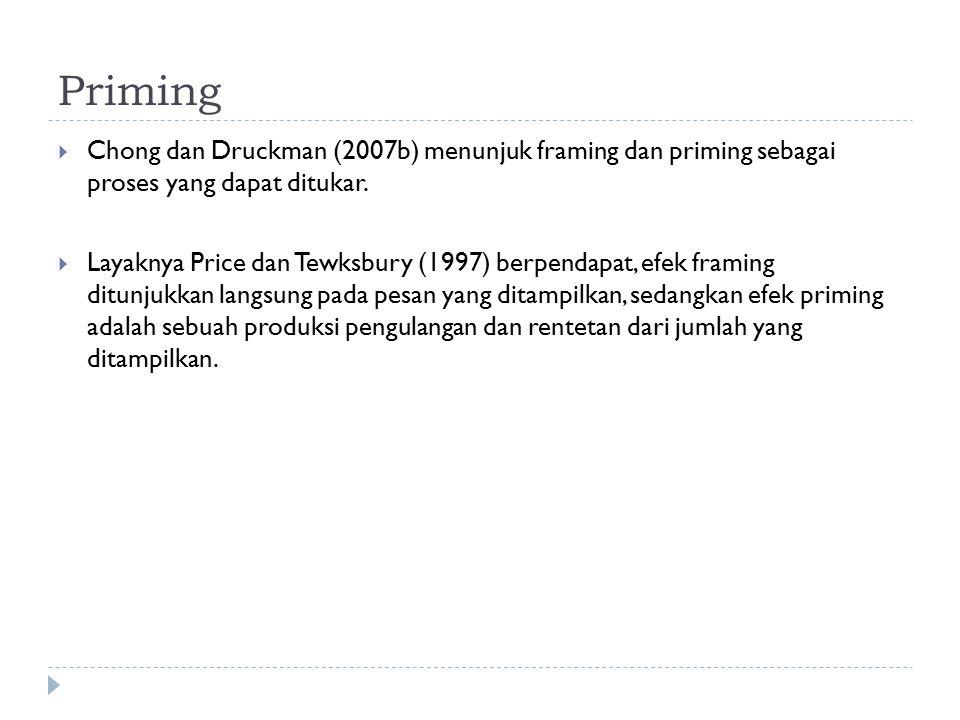 Priming Chong dan Druckman (2007b) menunjuk framing dan priming sebagai proses yang dapat ditukar.