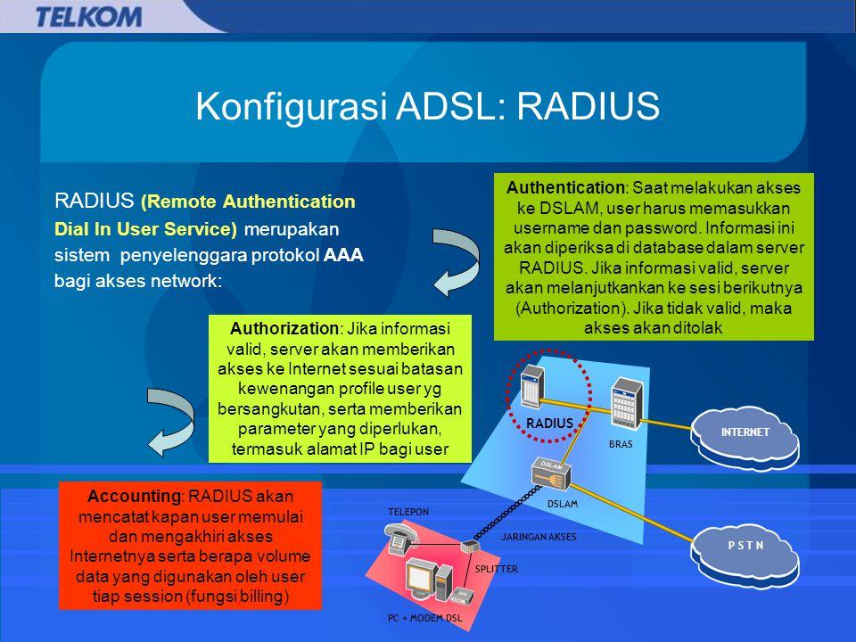 Konfigurasi ADSL: RADIUS