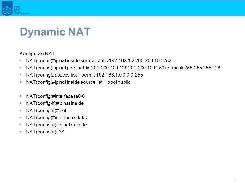 Dynamic NAT Konfigurasi NAT