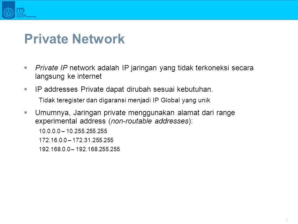 Private Network Private IP network adalah IP jaringan yang tidak terkoneksi secara langsung ke internet.