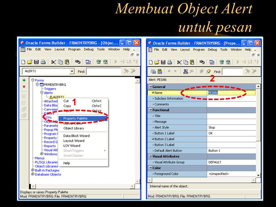 Membuat Object Alert untuk pesan