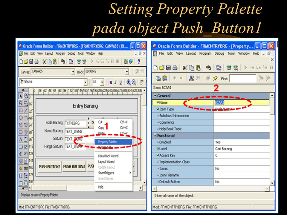 Setting Property Palette pada object Push_Button1