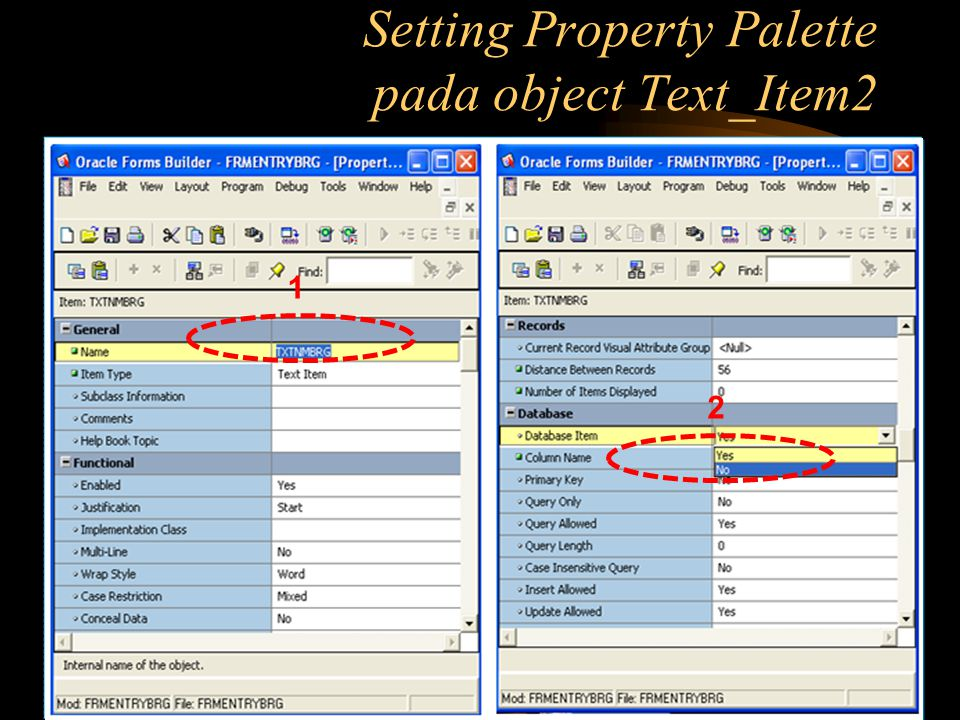 Setting Property Palette pada object Text_Item2