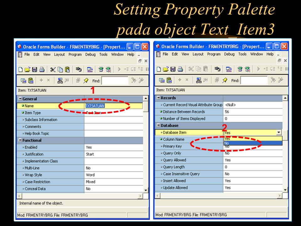 Setting Property Palette pada object Text_Item3