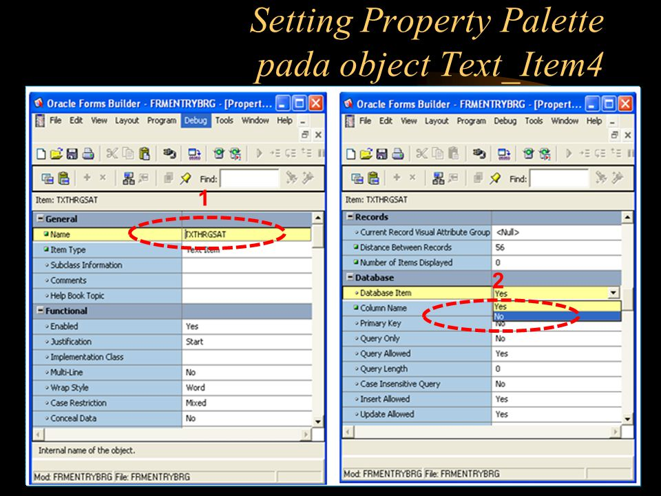 Setting Property Palette pada object Text_Item4