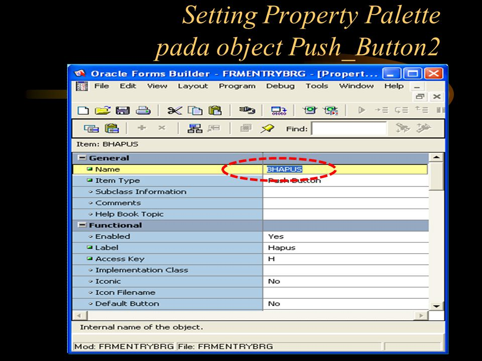 Setting Property Palette pada object Push_Button2