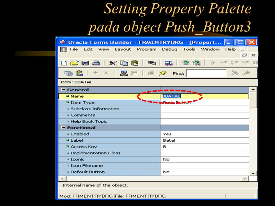 Setting Property Palette pada object Push_Button3