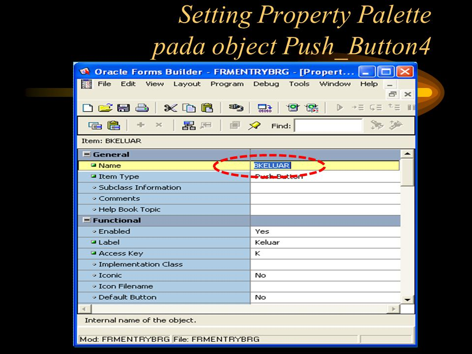 Setting Property Palette pada object Push_Button4