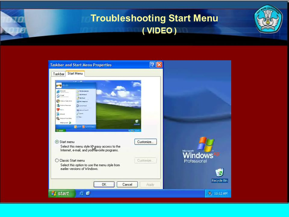 Troubleshooting Start Menu