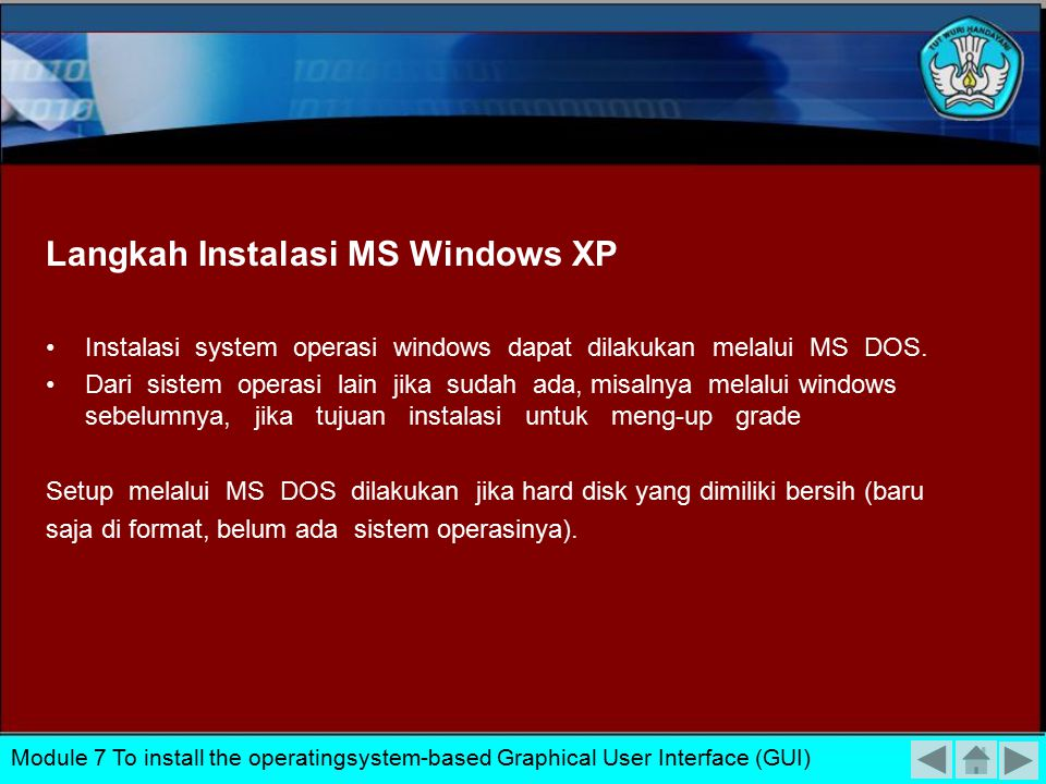 Langkah Instalasi MS Windows XP