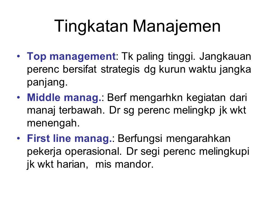 Tingkatan Manajemen Top management: Tk paling tinggi. Jangkauan perenc bersifat strategis dg kurun waktu jangka panjang.
