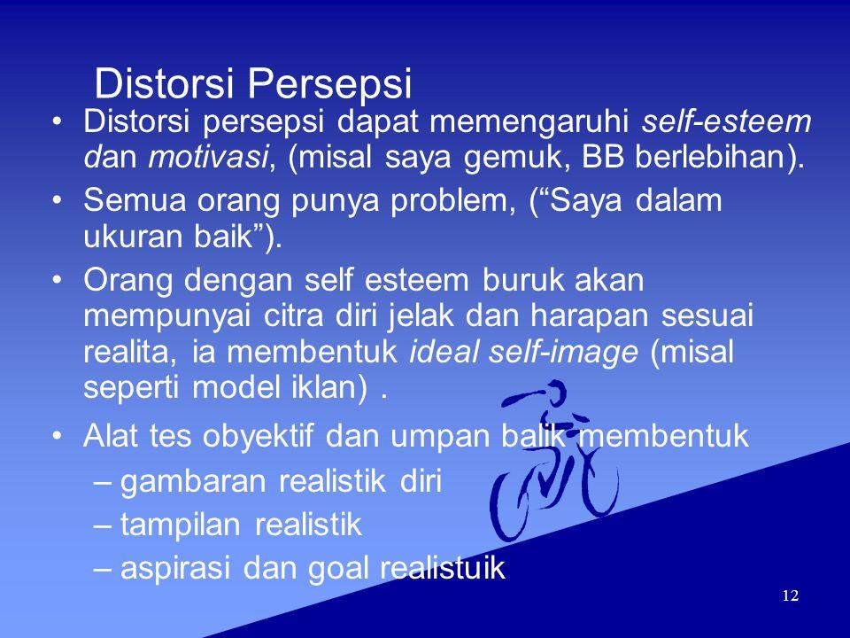 Distorsi Persepsi Distorsi persepsi dapat memengaruhi self-esteem dan motivasi, (misal saya gemuk, BB berlebihan).