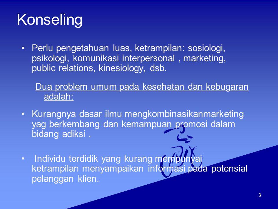 Konseling Perlu pengetahuan luas, ketrampilan: sosiologi, psikologi, komunikasi interpersonal , marketing, public relations, kinesiology, dsb.