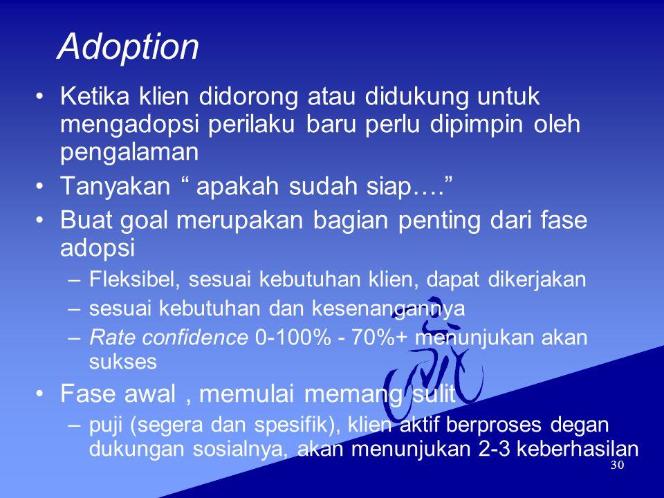 Adoption Ketika klien didorong atau didukung untuk mengadopsi perilaku baru perlu dipimpin oleh pengalaman.