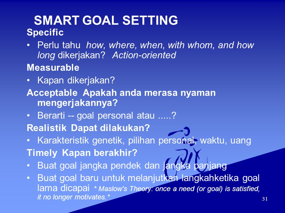 SMART GOAL SETTING Specific