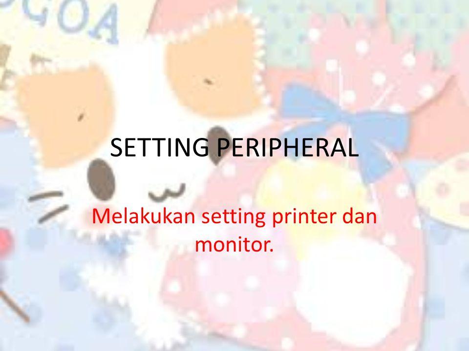 Melakukan setting printer dan monitor.
