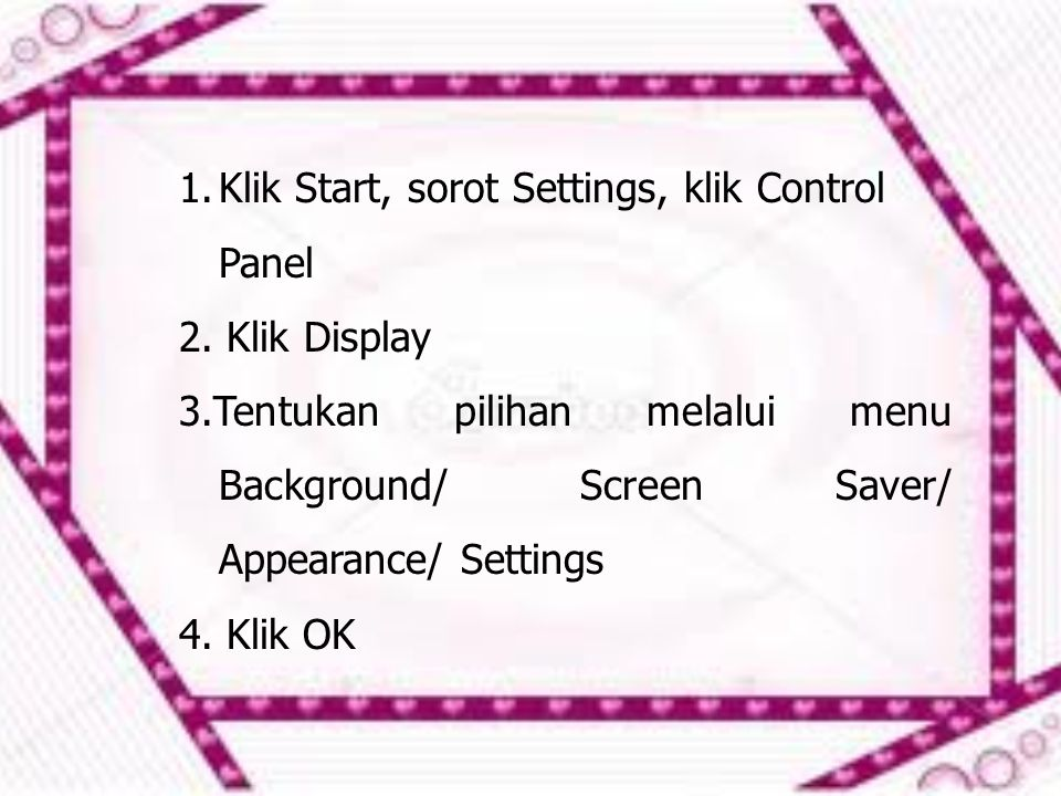 Klik Start, sorot Settings, klik Control