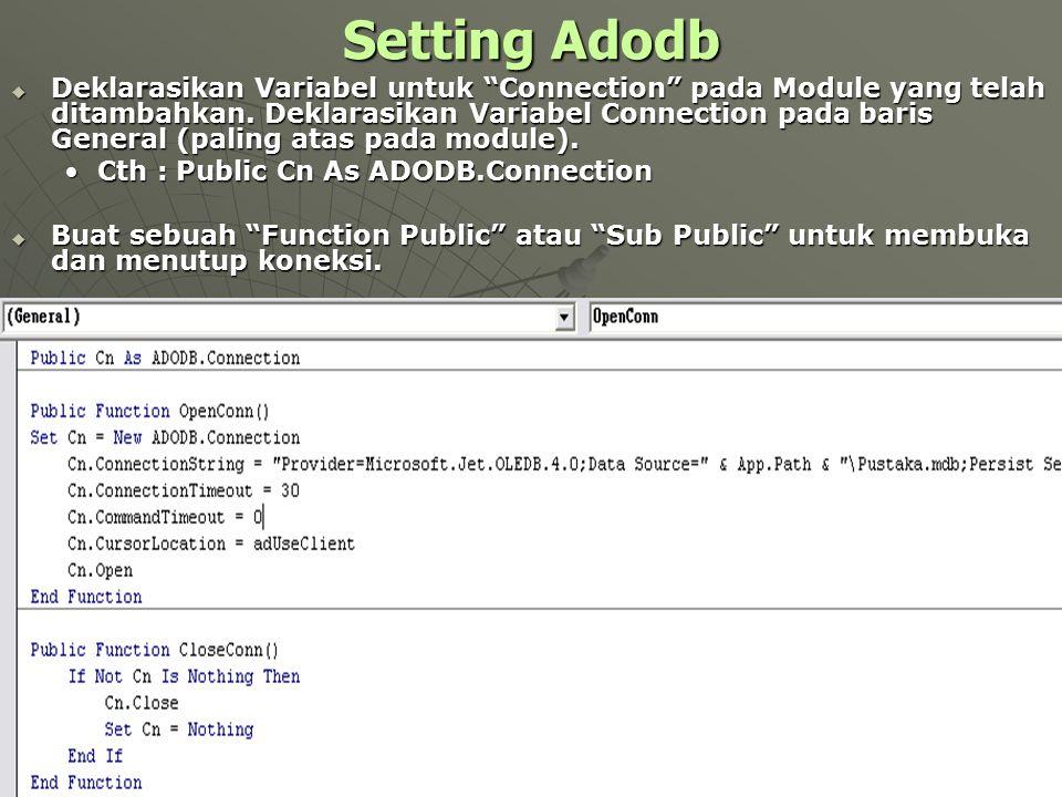 Setting Adodb