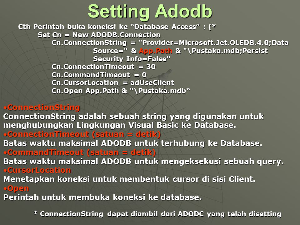 Setting Adodb ConnectionString