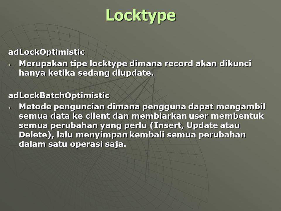 Locktype adLockOptimistic