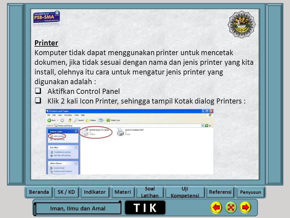 Printer Komputer tidak dapat menggunakan printer untuk mencetak dokumen, jika tidak sesuai dengan nama dan jenis printer yang kita install, olehnya itu cara untuk mengatur jenis printer yang digunakan adalah :