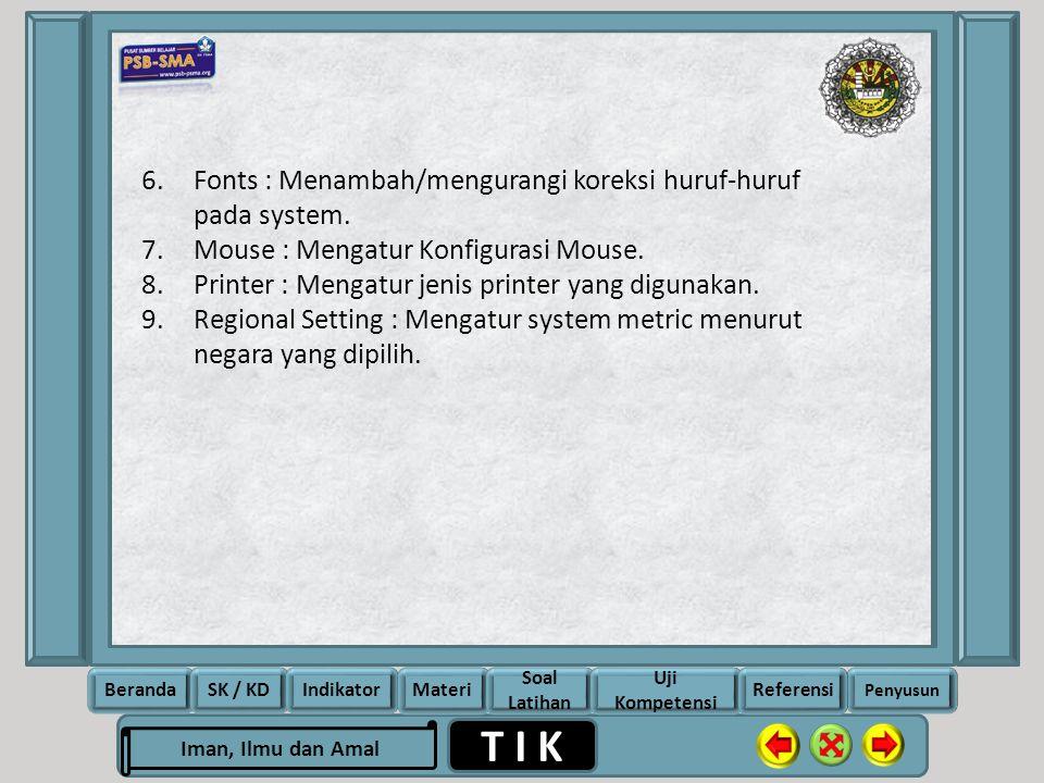 Fonts : Menambah/mengurangi koreksi huruf-huruf pada system.