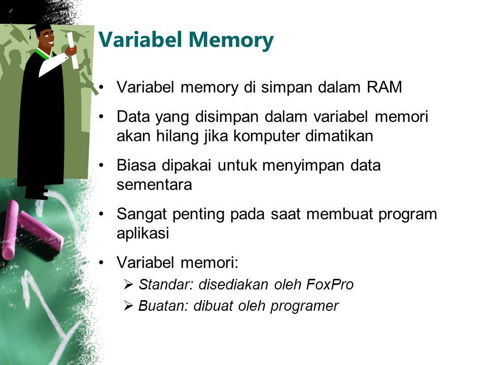 Variabel Memory Variabel memory di simpan dalam RAM