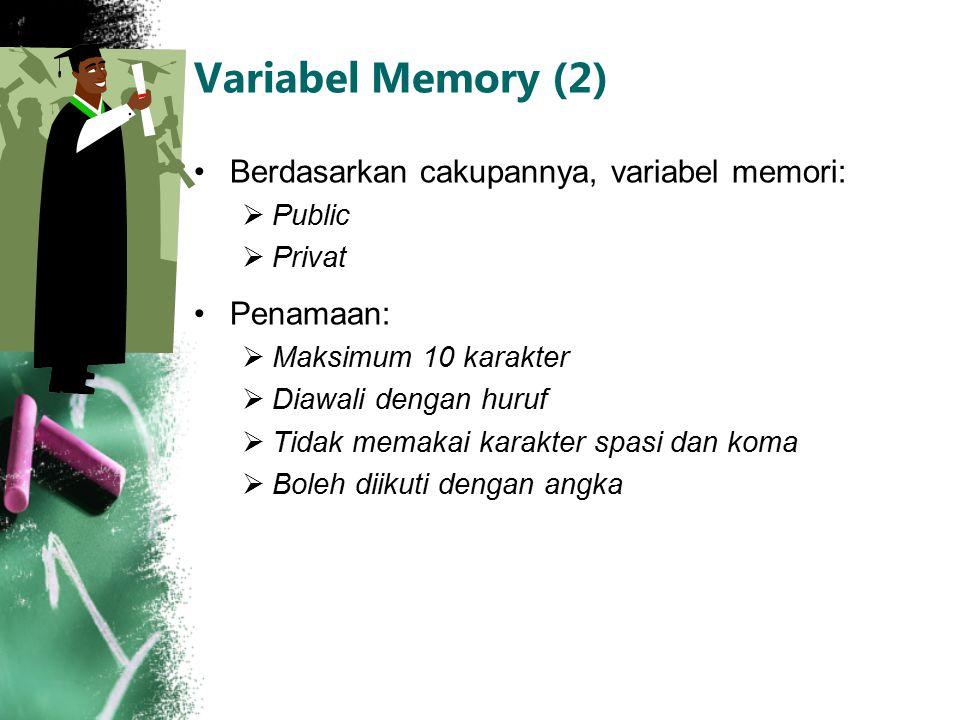 Variabel Memory (2) Berdasarkan cakupannya, variabel memori: Penamaan: