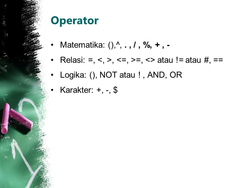 Operator Matematika: (),^, . , / , %, + , -