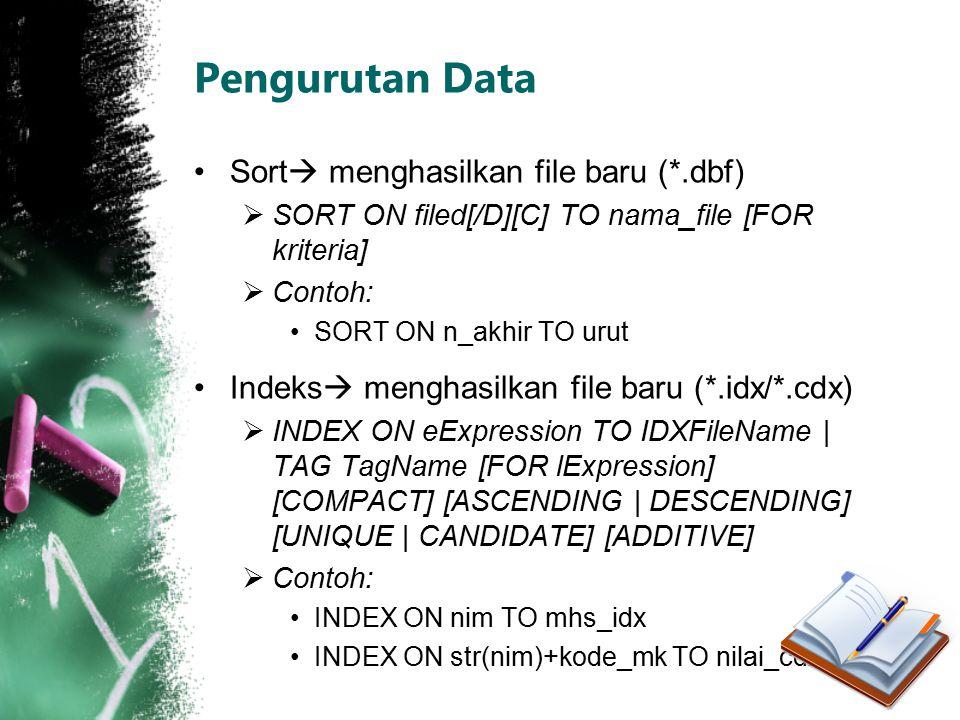 Pengurutan Data Sort menghasilkan file baru (*.dbf)