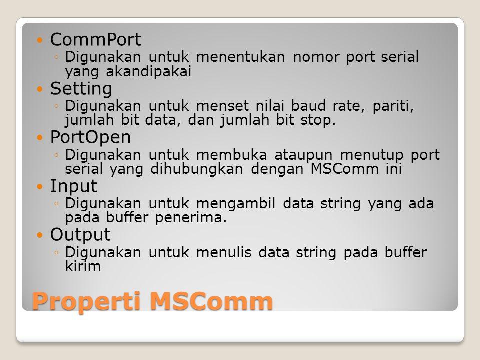 Properti MSComm CommPort Setting PortOpen Input Output