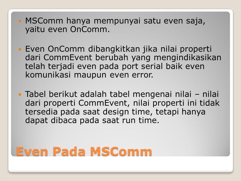 MSComm hanya mempunyai satu even saja, yaitu even OnComm.