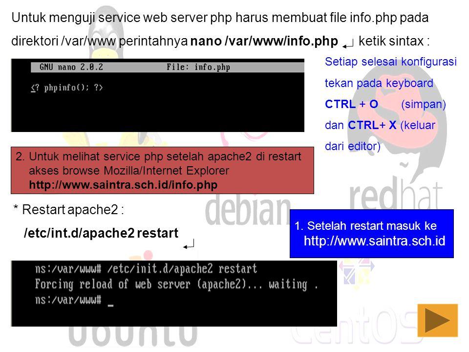 Untuk menguji service web server php harus membuat file info.php pada