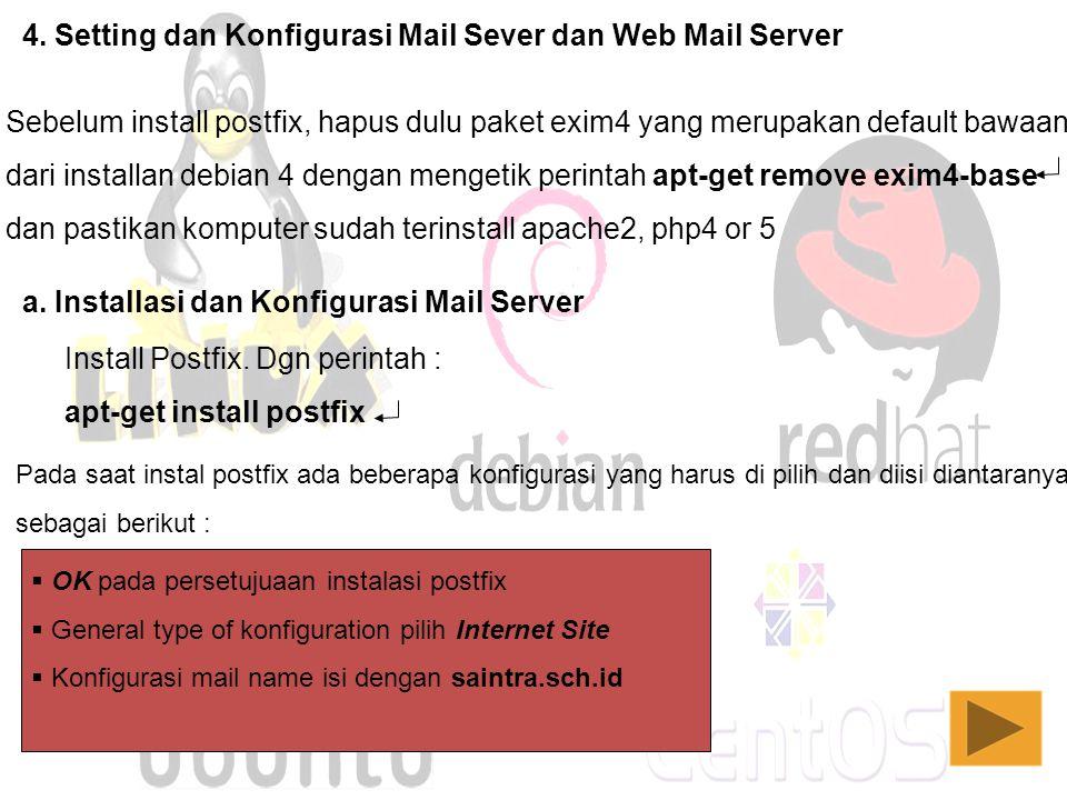 4. Setting dan Konfigurasi Mail Sever dan Web Mail Server
