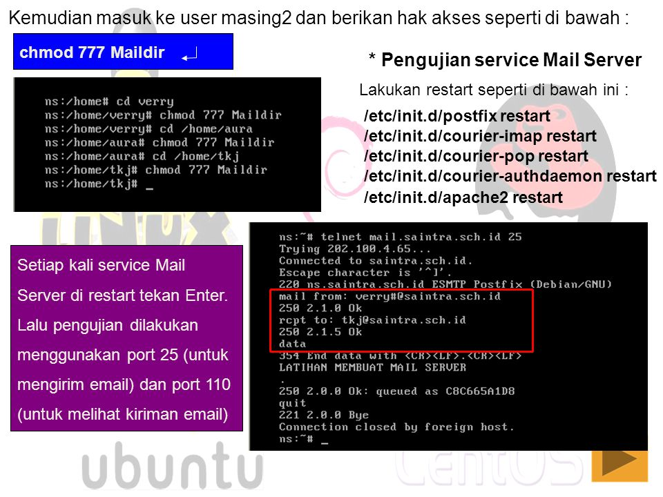 * Pengujian service Mail Server