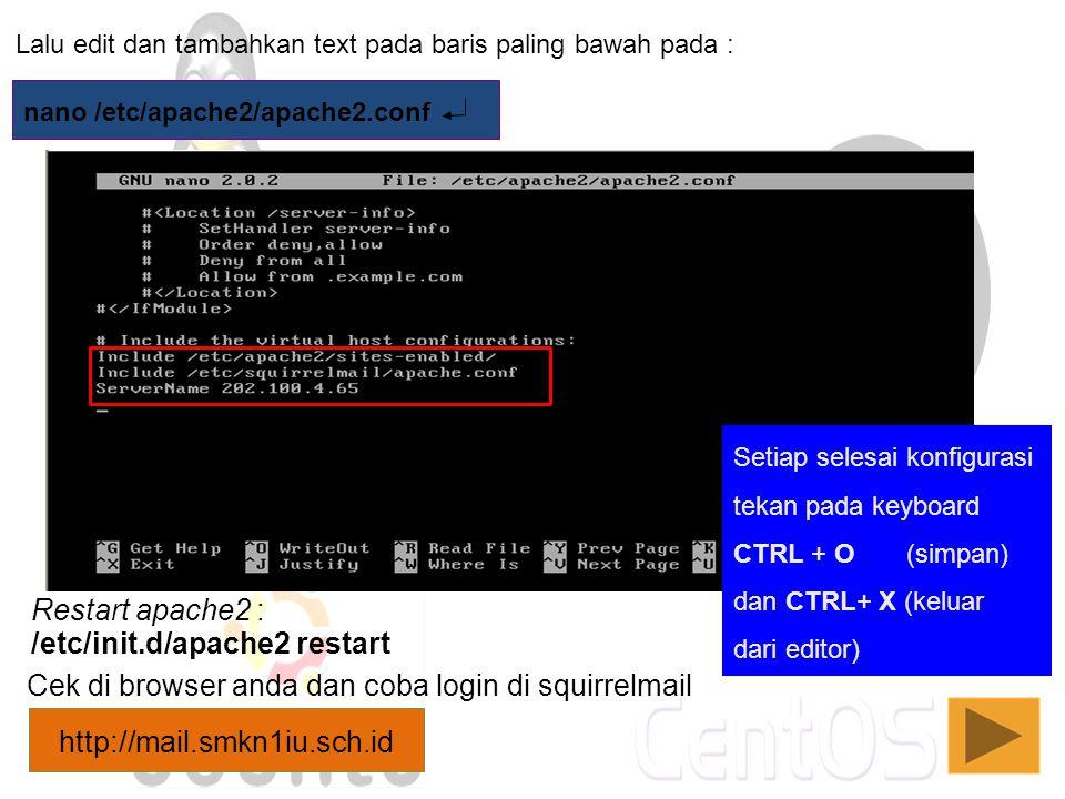 /etc/init.d/apache2 restart