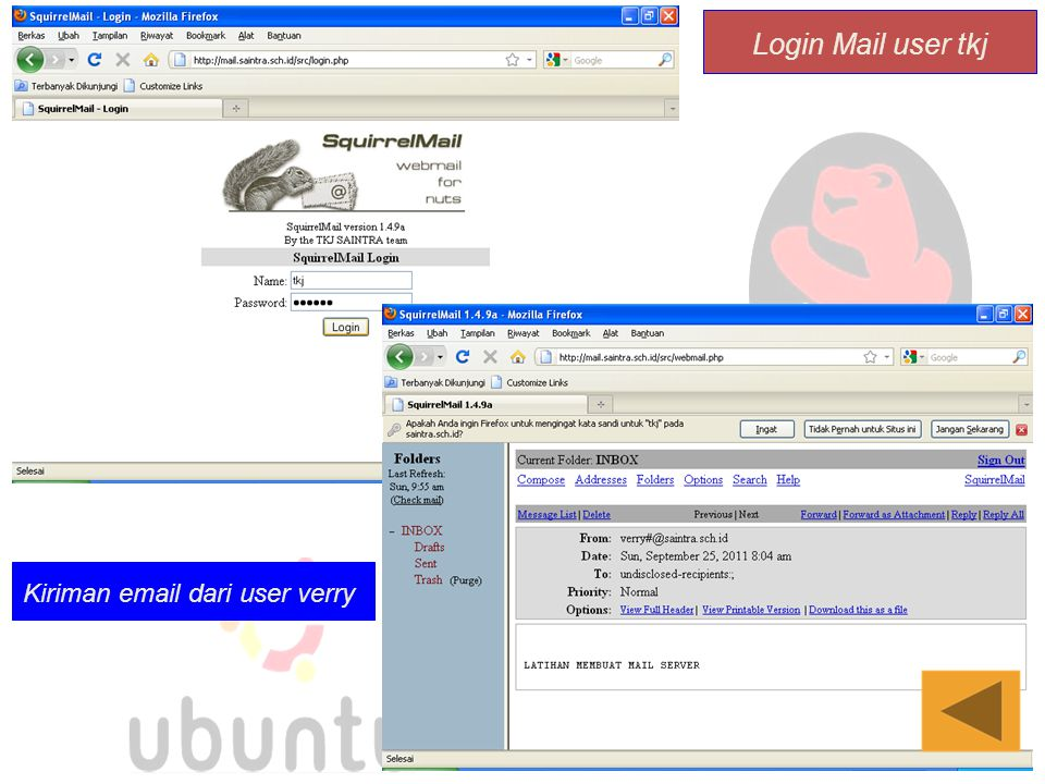Login Mail user tkj Kiriman email dari user verry