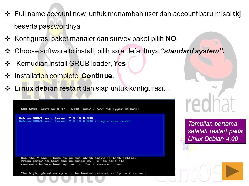 Full name account new, untuk menambah user dan account baru misal tkj