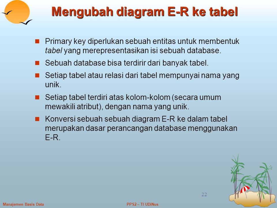 Mengubah diagram E-R ke tabel