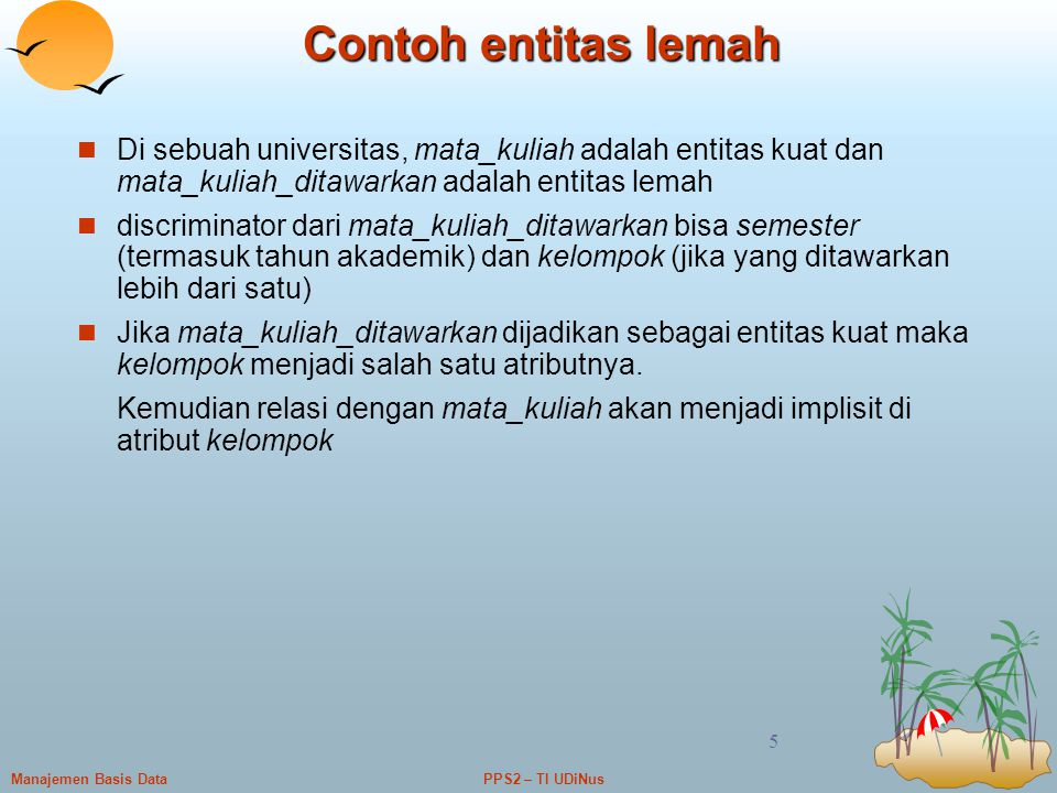 Contoh entitas lemah Di sebuah universitas, mata_kuliah adalah entitas kuat dan mata_kuliah_ditawarkan adalah entitas lemah.